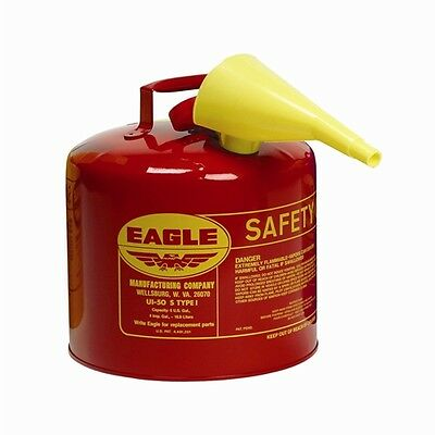 Eagle UI-50-FS Metal Safety Can - Red w/F-15 Funnel
