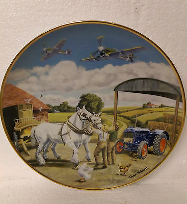 In Safe Hands Farming War Years Danbury Mint Plate Ford Tractor & WWII Plane