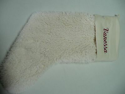 Pottery Barn Velvet Sherpa Christmas stocking VANESSA  Ivory bells
