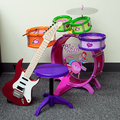 Music Set Red Electric Guitar 8pc Colorful Drum Toys Girl Children Playset
