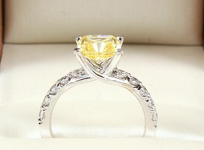 2.60TCW FANCY YELLOW Emerald Brilliant Cut 14k Solid White Gold engagement Ring