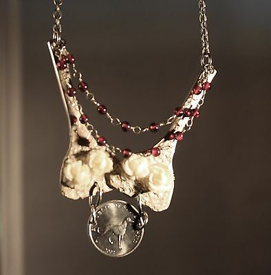 Greyhound Coin with Silverplate Decorated Necklace/ Red Garnets & White Flowers
