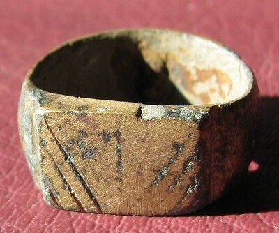 Authentic Ancient Artifact > Medieval BRONZE RING Sz: 4 3/4 US 15.5mm 11642