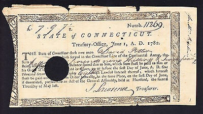 US Treasury Note 1782 State of Connecticut Signature : John Lawrence