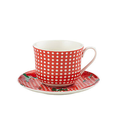 NEW Anna Gare Vintage Rose Oversized Tea Cup & Saucer Red