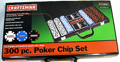 NEW 300 Piece CRAFTSMAN Pro Poker Chip Set Steel Tool Case NEW