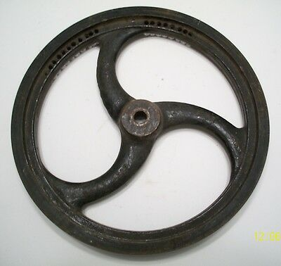 Old Industrial, Cast Iron Pulley Wheel, Steampunk Art !