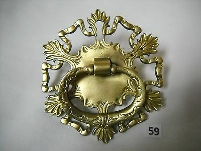 Large Antique Brass Single Screw Drawer Pull With Key Hole