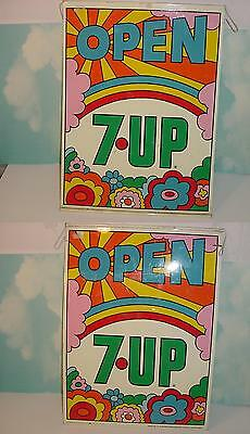 Vintage 7-Up Double Sided Sign! Excellent! Peter Max Design