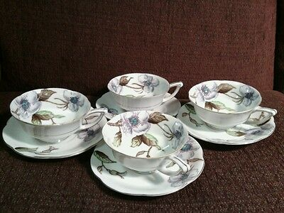 Exquisite UCAGCO China Hand Painted Floral Scalloped Tea Cup/Saucer Set,Japan