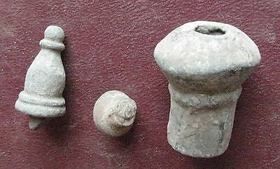 Authentic Ancient   ROMAN to Medieval - Lot of 3 Bronze FINIAL Artifacts 12678