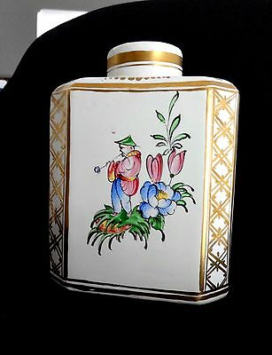 French Faience Hand Painted Pottery Tea Caddy Vintage Antique