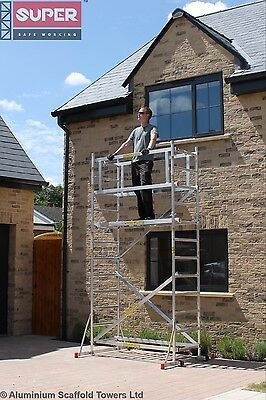 SUPER DIY 4.2m (2 in ONE) Aluminium Scaffold Tower, 1m frames, One Man Tower