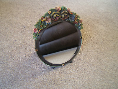 Mirror Barbola round bevelled  glass great condition rear stand    B9 148