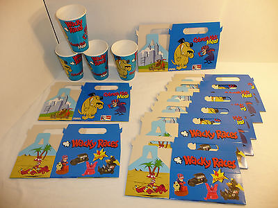 Lot of Unused KFC Wacky Races Colonel's Kids Meal Boxes + Cups Muttley Dastardly