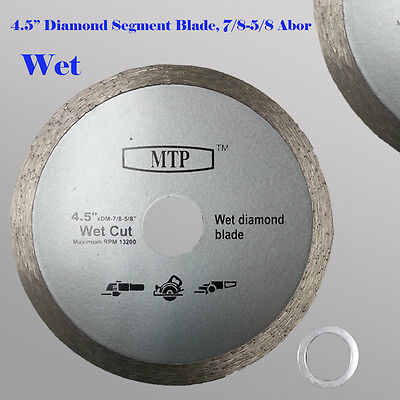 "4.5"" Wet Diamond Continuous Rim Saw Blade 7/8-5/8 Abor w/ 5/8 Reducer"