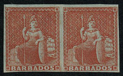 Barbados 1855 (4d.) brownish red (paper blued), MNH pair (SG#5)