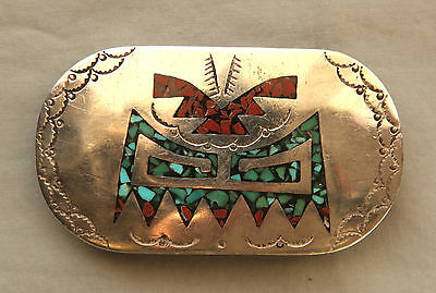 Vtg Beautiful Hand Made Turquoise Coral Inlay Native American Belt Buckle