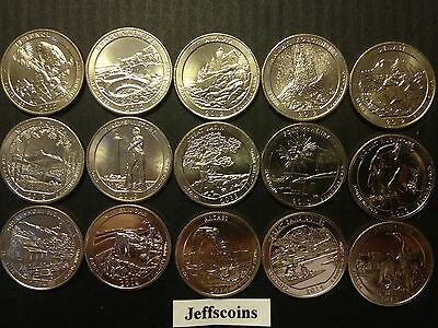 2014 S 2013 2012 S Mint National Park Quarters Complete 15 Coin Set Volcano ATBd