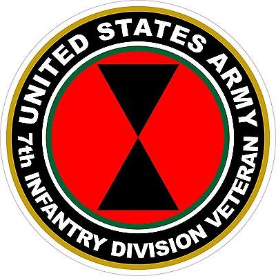 UNITED STATES Army Veteran 7th Infantry Division Decal Window Bumper Sticker