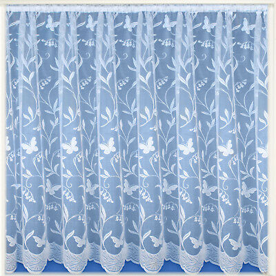 Butterfly & Floral Modern White Value Net Window Curtain - Sold By The Metre
