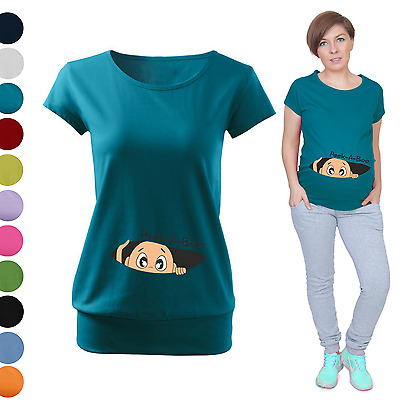 Maternity Pregnancy T-shirt Top Funny PEEK-A-BOO baby shower gift Peeking baby