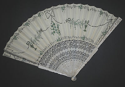 Rare Antique Chinese Carved Figural Sticks Fan Hand Painted Leaf 18Th