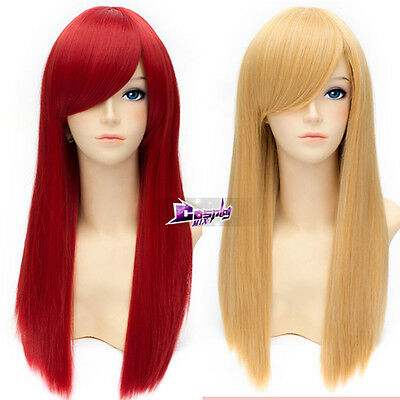 Long Straight Girls Women Lady 55cm Anime Cosplay Wig 13 Colors + Wig Cap