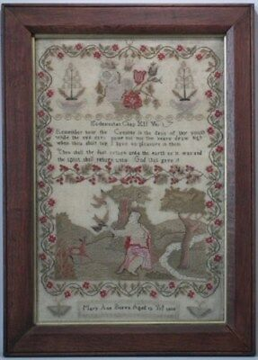 1830 Religious Sampler by Mary Ann Burva