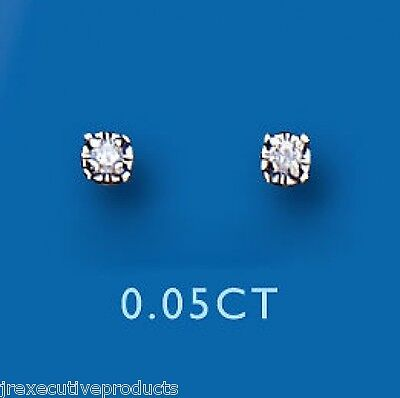 9ct Yellow Gold Real Diamond Round Solitaire Stud Earrings 0.05ct