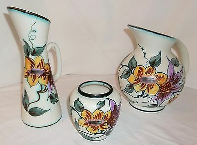 CLEMATIS HOLLAND POTTERY (3 PIECES) BEAUTIFUL, GREAT CONDITION, VERY COLORFUL