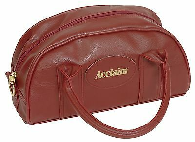 ACCLAIM Cwmbran Traditional Two Bowl Bag Burgundy Handles Zip Top Leather Look