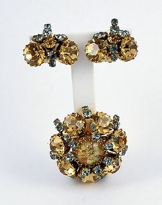 Estate Costume Austria Blue and Brown Crystal Pin and Clip Earrings Set