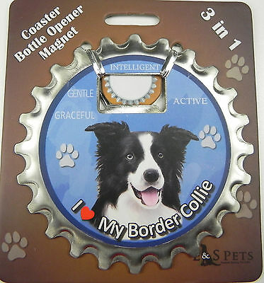 Border Collie dog coaster magnet bottle opener Bottle Ninjas magnetic