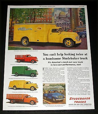 1949 Old Magazine Print Ad, Studebaker Trucks Are Noted For Low Cost Operation!