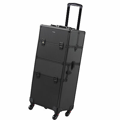 2In1 4 Wheel Rolling Aluminum Makeup Artist Lockable Cosmetic Train Case