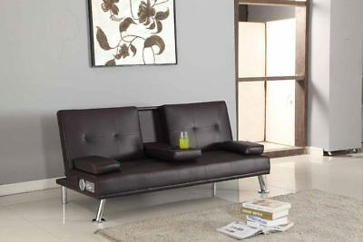 Bluetooth Cinema Sofa Bed with Drink Cup Holder Table Faux Leather 4 Colours