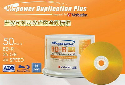 10 Verbatim Vinpower Gold Series BD-R BLURAY 25GB 4X Disc Repacked Print Surface