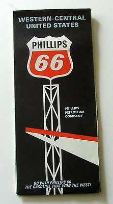 1966 Phillips Oil Gas Highway Travel Road Map Western & Central United States