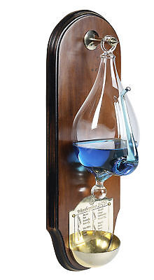 Weather Storm Glass Wooden Wall Plaque Barometer Instrument New