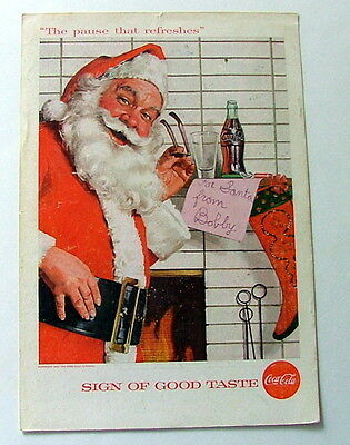 1957 Coca Cola Ad Santa Claus Front Of Fireplace Reading Childs Note