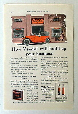 1918 Advertising Ad Veedol Lubricant Tide Water Oil Company Convertible Car