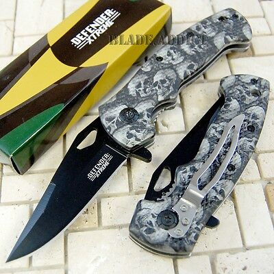 """7.5"""" Grey Zombie Skull Tactical Combat Spring Assisted Open Pocket Knife 6454-W"""