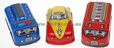 3 WIND UP TIN TOY CARS TAXI POLICE  FIRE ENGINE GiftBox