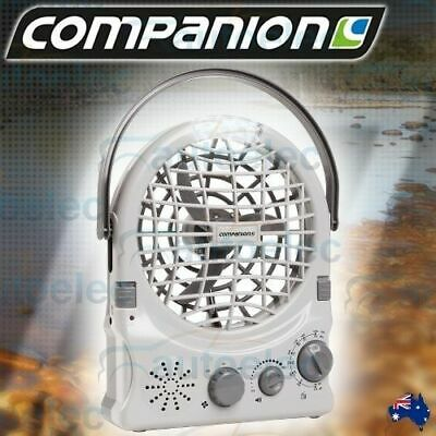 Companion Rechargeable Portable Fan+Radio+Led Light 12V Usb Caravan Camp Comp345