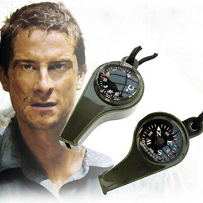 Outdoor Hiking Emergency Survival Gear 3 in1 Whistle Compass Thermometer