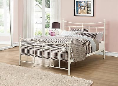 Emily 120cm 4FT Small Double Cream Ivory Metal Bed Frame Bedstead Sprung Base