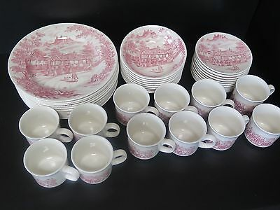 "47 Piece Churchill ""pink Swan Inn"" English Dinnerware"