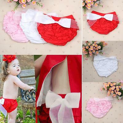 Toddler Baby Girls Ruffle Shorts Bow PP Pants Bloomers Diaper Nappy Cover 1-3Y