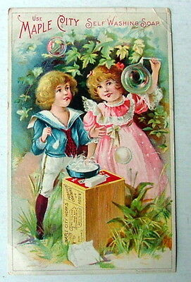 Maple City Washing Soap Monmouth Illinois Trade Card Very Cute Boy & Girl